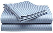 King Size 400 Thread Count 100% Cotton Sateen Dobby Stripe Sheet Set -Light Blue