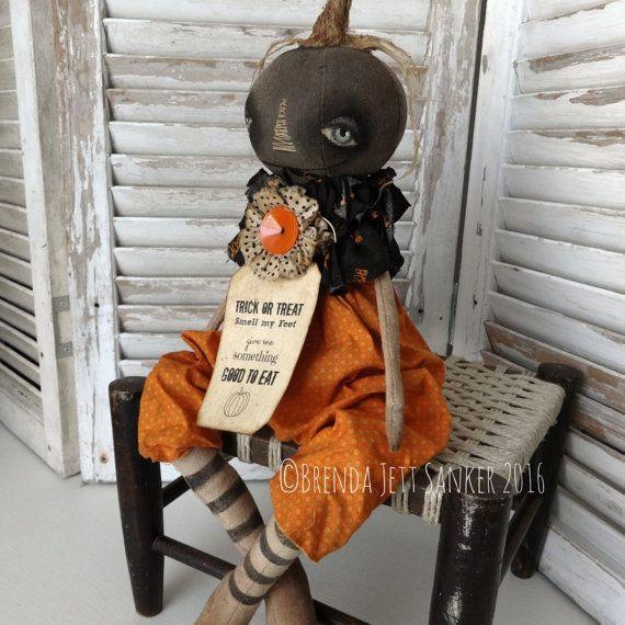 OOAK DOLL Primitive Folk Art Halloween Pumkin by brendasanker
