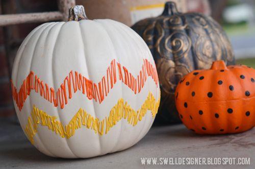 Painted pumpkin - The Swell Life: Candy Corn Chevron Pumpkin DIY