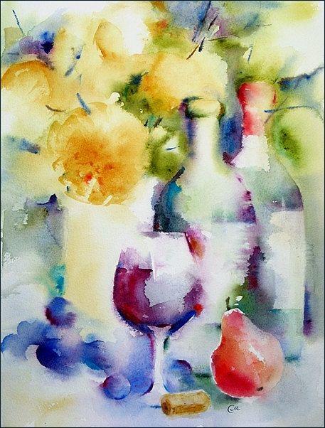Vino pintura acuarela Original otoño vino12 x 16