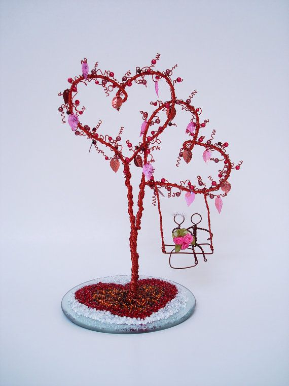 The Double Heart Tree Swing - Wedding Centerpiece, Anniversary, Engagement, Bridal Shower, Cake Topper