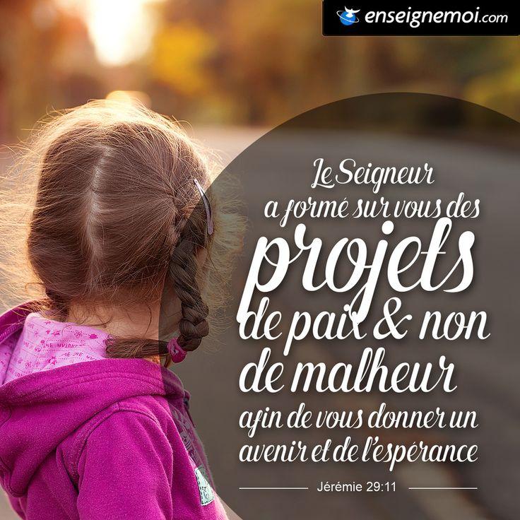 Jérémie 29:11 « Le Seigneur a formé sur vous des projets de paix et non de malheur, afin de vous donner un avenir et de l'espérance »