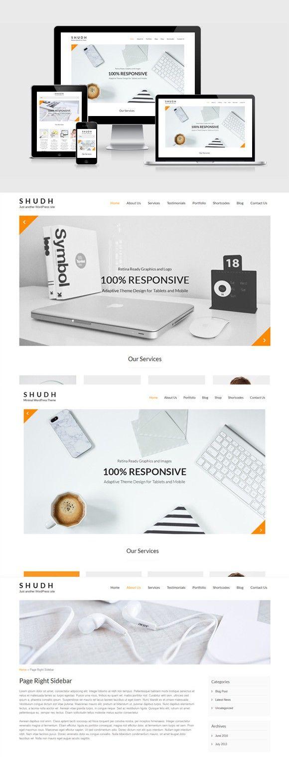 Shudh - Minimal WordPress theme. WordPress Minimal Themes. $48.00 - Minimal wordpress theme, WordPress theme responsive, Minimal theme - 웹
