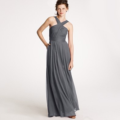 I like the long flowing dresses in dark gray for bridesmaids
