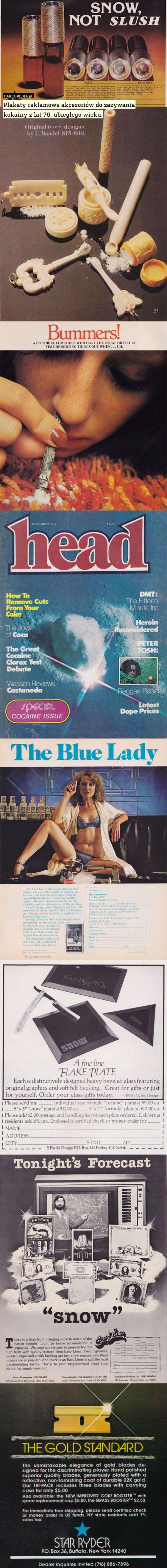 Plakaty reklamowe akcesoriów do zażywania kokainy z lat 70. ubiegłego wieku. – Plakaty reklamowe akcesoriów do zażywania kokainy z lat 70. ubiegłego wieku.