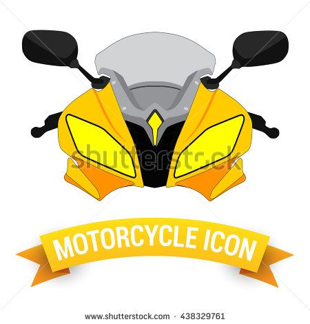 Front View Yellow Motor Bike Icon / Motorcycle Badges / Motorcycle Design