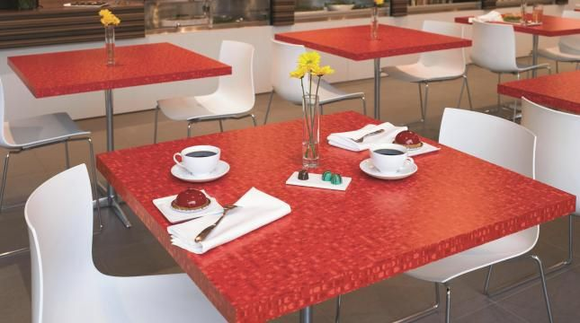 Red cafe table tops. Surface by Formica.