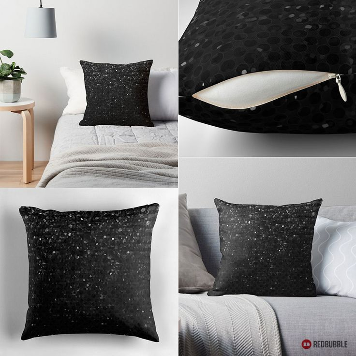 """SOLD Throw Pillow """"Black Crystal Bling Strass""""  http://www.redbubble.com/people/medusa81/works/13490842-black-crystal-bling-strass?asc=u #Redbubble #pillow #home #homedecor #black #crystals #bling #strass"""