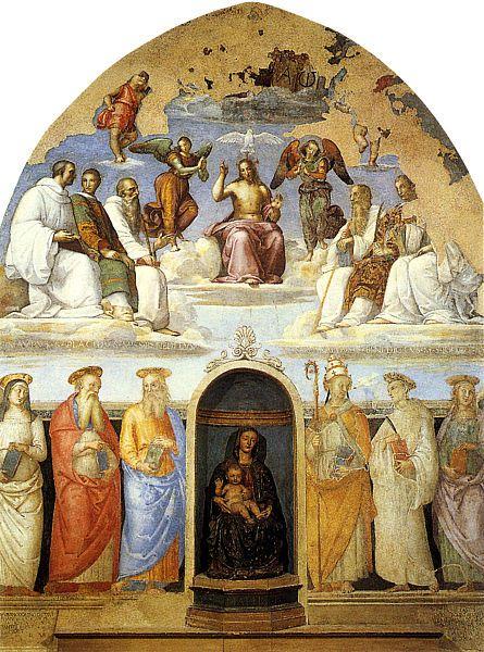 Фреска Рафаэля и Перуджино в капелле Сан Северо в Перудже.
