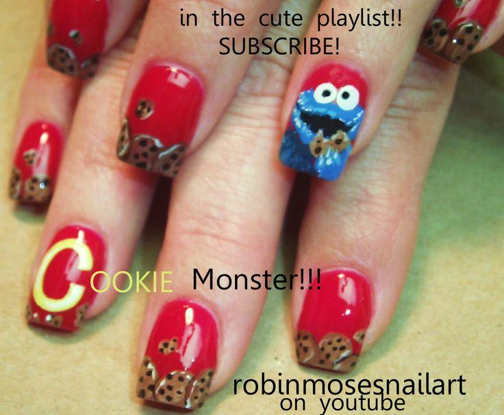 Nail-art by Robin Moses- cookie monster nails: Monsters Nails, Birthday Nails, Cookie Monster, Cookies Monsters, Nails Art, Kids Birthday, Robins Moses, Pink Nails, Black Nails