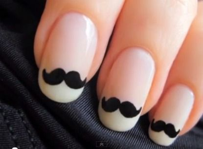 mustaches: Nails Art, Nailart, French Manicures, Style, Nailsart, Moustache Nails, Beautiful, Whiskers, Mustache Nails