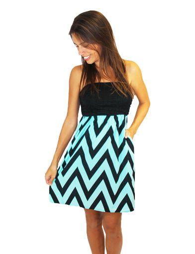 Strapless Mint Chevron Dress