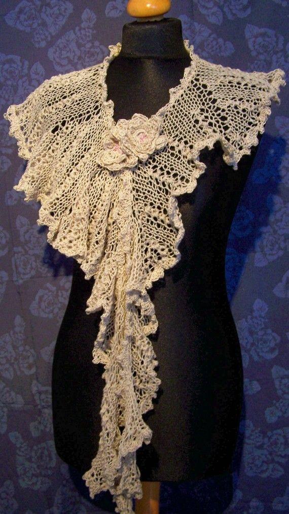 Lace scarf, wedding shawl, knit scarf,victorian shawl,edwardian shawl,cream w...