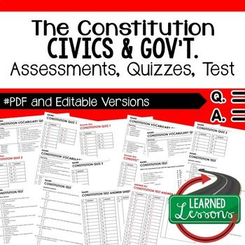 Constitution Vocabulary Quiz, Test, Civics Assessment, PDF and Editable Version ➤Civics Quiz, Civic Assessment, Civics Test, Goes with Civics Mega Bundle Resources Also part of CIVICS and GOVERNMENT MEGA BUNDLE,Building a New Nation BUNDLE...
