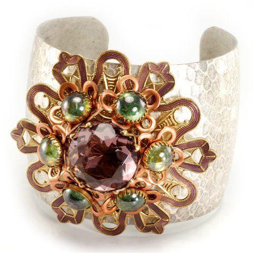 Sweet Romance Adjustable Amethyst & SeaGreen Luster Cuff Bracelet Ollipop. $59.00