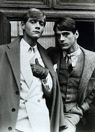 "Anthony Andrews & Jeremy Irons (from Brideshead Revisited, 1981). ""We cherish our friends not for their ability to amuse us, but for ours to amuse them. - Evelyn Waugh"""