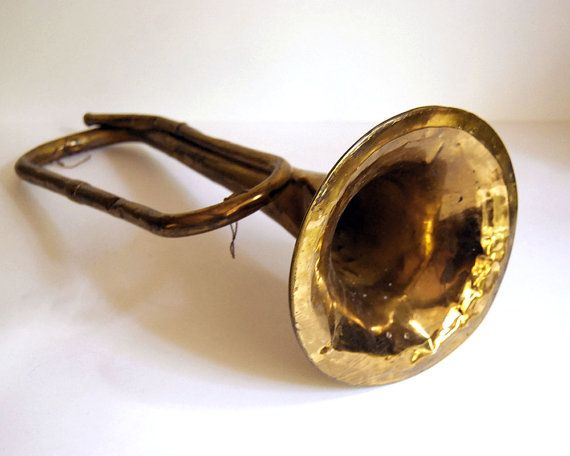 Antique Brass Bugle Musical Instrument Horn Weril Brazil Vintage Home Decor