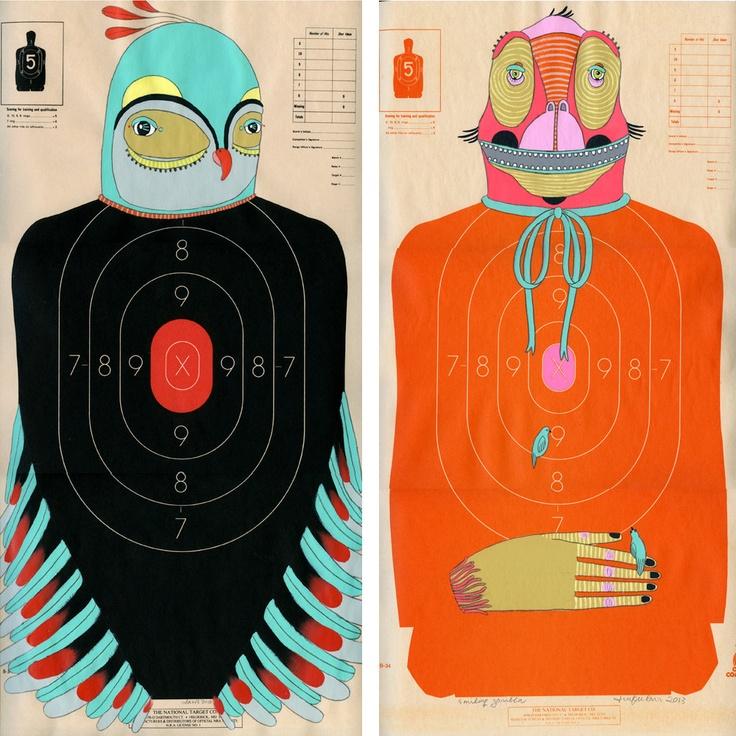 Hand-Painted Paper Shooting Targets via @Etsy https://www.etsy.com/shop/jenniferdavis Blue #Bird and Orange #Ape - $ 100/each