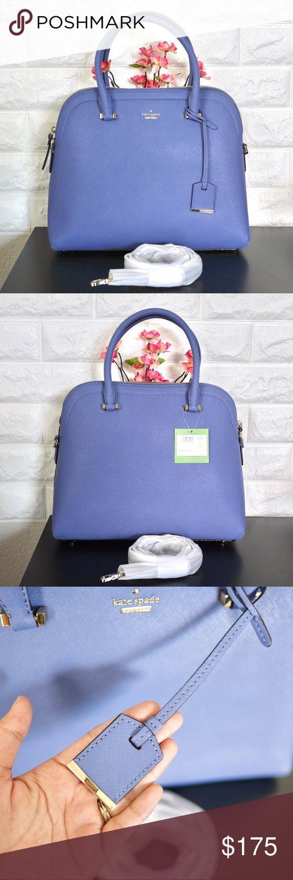"""💖Kate Spade Cameron Street Margot NWT. Color: Oyster Blue Material: Crosshatched Leather Dimension: 12.7L x 10H x 5.5D Strap Drop: 18.5""""  • Will come in original Kate Spade packaging and dustbag.  • Price is firm. Sell only, No trades. kate spade Bags Satchels"""