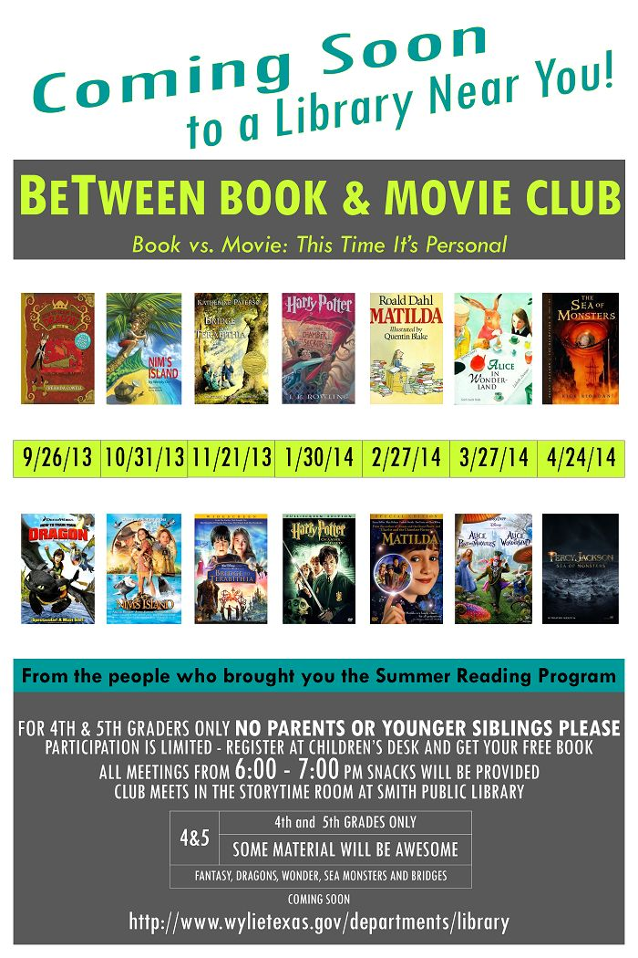 BeTween Book Club  Poster | Wylie TX: Libraries Ideas, Program Ideas, Picture-Black Posters, Libraries Program, Libraries Stuff, Teen Books Club Posters, Movie Club, Great Ideas, Books And Movie