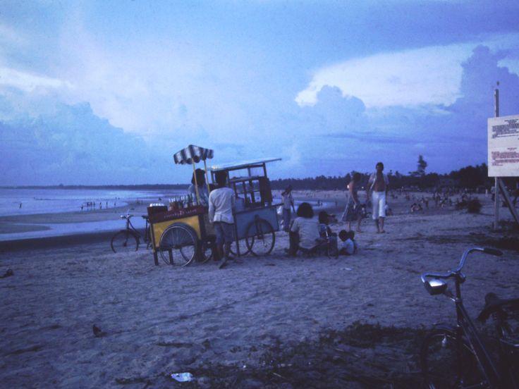 Kuta beach at sunset 1977 take away food cart