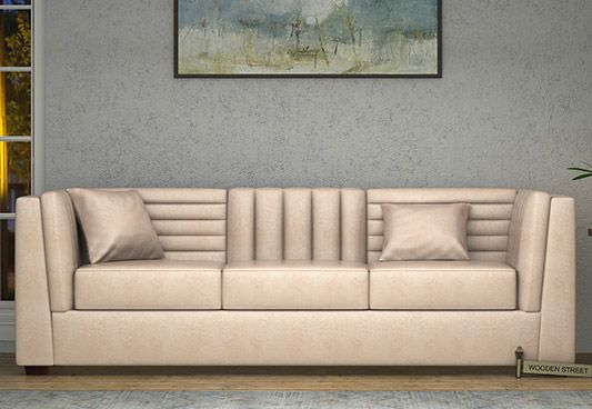Shop online Piexy 3 Seater Sofa in Leatherette with fabulous touch of Rose White. The 3 seater sofa is an exceptional piece of sofa. Get dazzling three seater sofa online to impart classic look to the interiors. Find splendid 3 seater sofa online #Chandigarh #Pune #Chennai
