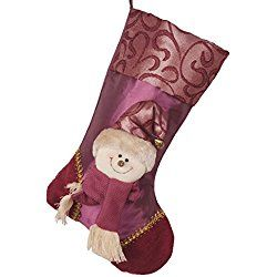 Fashion Felt Christmas House Family Pet Animals Christmas Stocking for Your Choice (Purple)