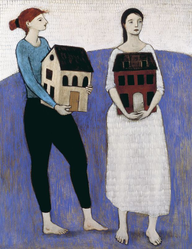 """Women Carrying Houses"" by Brian Kershisnik."