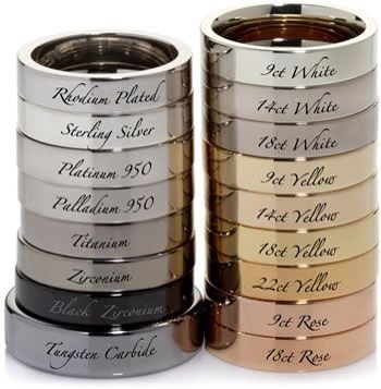 metal types; I like the 9 Ct. Rose for my wedding band with Platinum Engagement ring