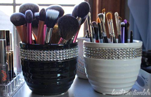 Handmade makeup brush holders