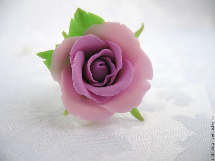 Купить Сиреневый вечер Кольцо с цветком ручной работы Полимерная глина Розой - украшение с цветами