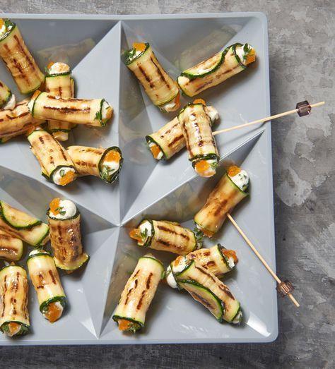 Gegrillte Zucchini-Scheiben mit Frischkäse-Aprikosenfüllung für die Party