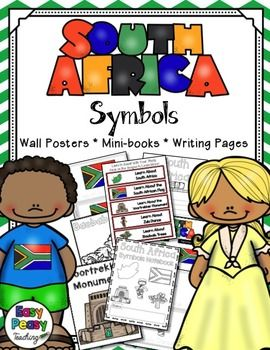 The South Africa symbols included in this notebook are: the country, the country's flag, the Voortrekker Monument, Zulu Dance, and Baobab Trees.This set includes links to learn about each symbol. Wall charts and coloring pages are included so your students or children will have a better understanding of how the symbols look.