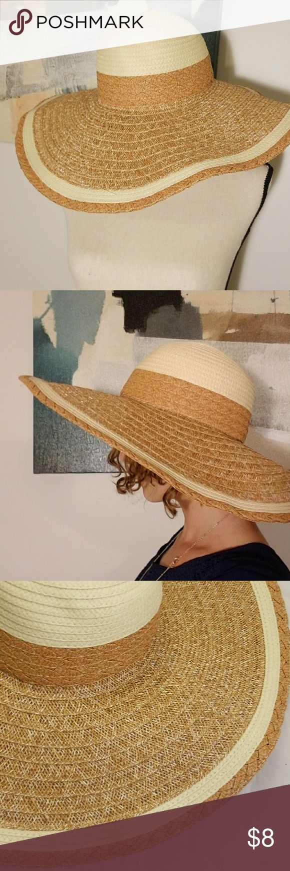 Natural Weave Wire Brim Floppy Hat SUMMER BLOWOUT!  This is a beautiful oversize floppy hat for women. The hat is a basketweave hat in a lovely natural color with braided trim detail. There is flexible wire in the brim so the hat can be shaped as you want to for best sun protection. Product Dimensions: 19 x 19 x 4.5 inches. PrincipleProject Accessories Hats
