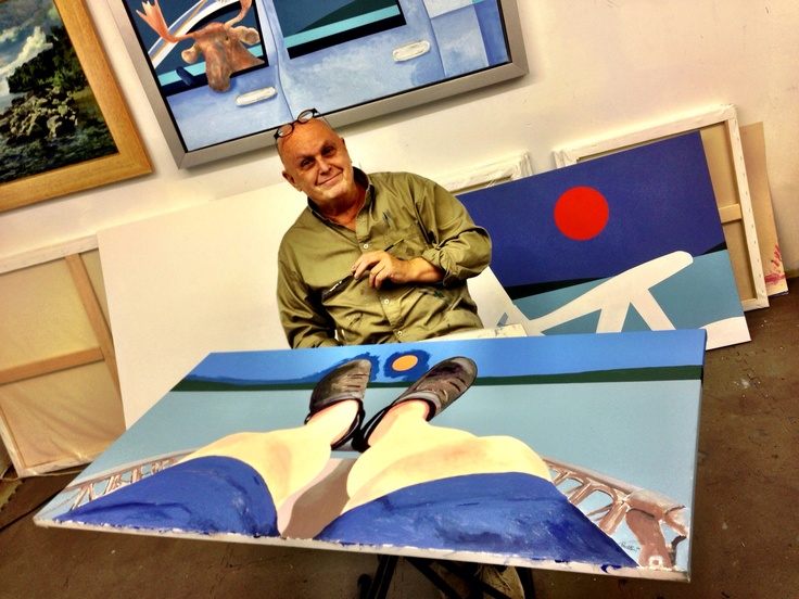 Charles Pachter in his studio working on MOON OVER CROCS chatting with Dan Trepanier and Gord Dunbar on  Sun Nov 5th 2012 - Photo by Dan Trepanier