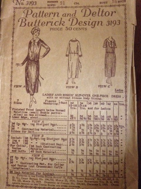 Deltor Butterick 3193, Ladies and misses slip over one piece dress, 36, 1920s
