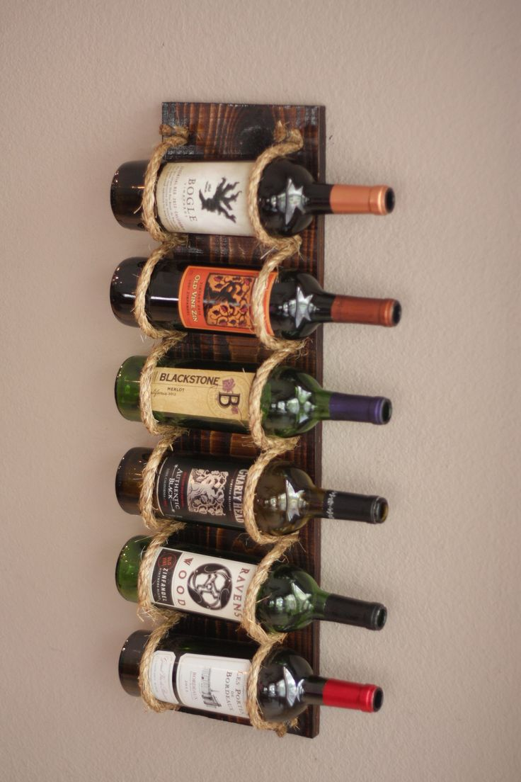 Coastal Wine Rack Wall Mounted | Wall Mounted Wine Bottle Holder | Wood Wine Display | Nautical Decor | Beach Decor Bar Organizer