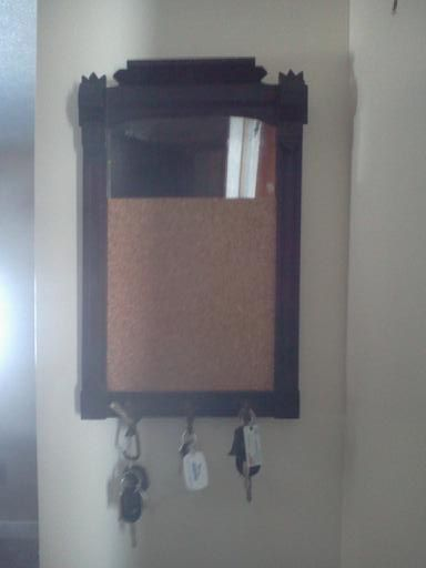 Great grandmother 39 s old mirror repurposed in to a mirror for Mirror key holder