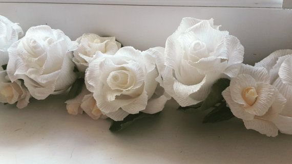 Garland Wedding GARLANDE decorations crepe paper by moniaflowers