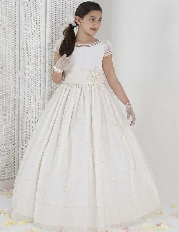 ラウンドネック フラワー  子供ドレス Fab0006