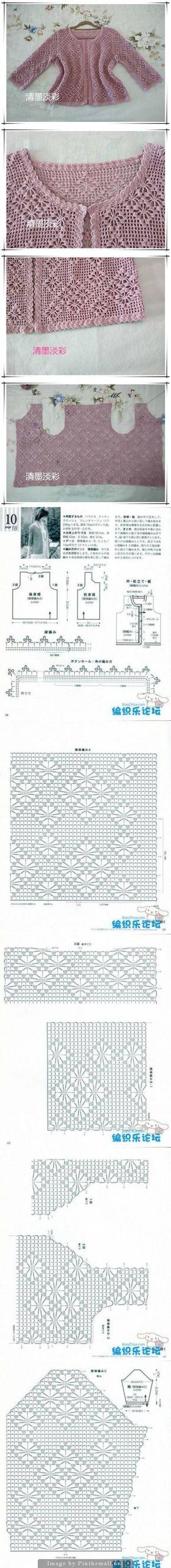 Filet crochet lace jacket with spider design ~~ http://www.liveinternet.ru/users/4729689/post339877732/