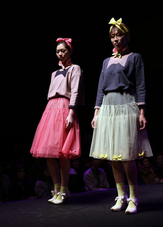 Tshirt dress with tutu skirt and scarf collar by couturierholiday, $210.00