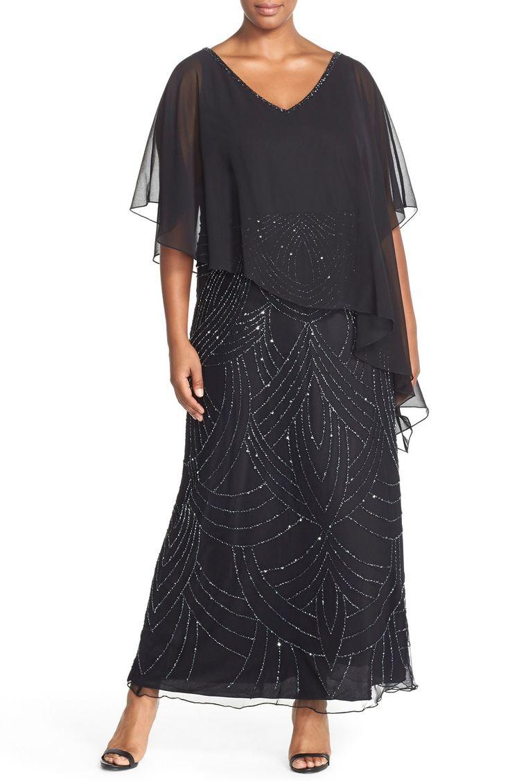 J Kara Chiffon Overlay V-Neck Beaded Gown (Plus Size)