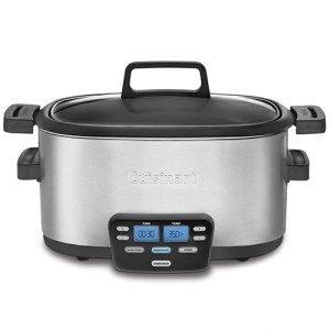 Cuisinart 3 in 1 Central 6 Quart Multi-Cooker: This is a miracle slow cooker that will let you cook, steam or saute your food with extreme fluidity. The multi-cooker comes with three programmable functions that are perfect for sauteing vegetables, brown your meats and master your slow cook acts. The multi-cooker has an LCD display with blue back-light which will give you clear picture of what's happening and keep you posted.