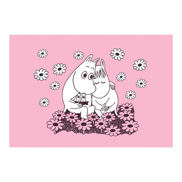 Appealing pink tablet with a motif from Tove Jansson's original drawings. Featuring Moomintroll and Snorkmaiden sitting together among flowers. High quality eco-friendly PET-plastic, made in Sweden.