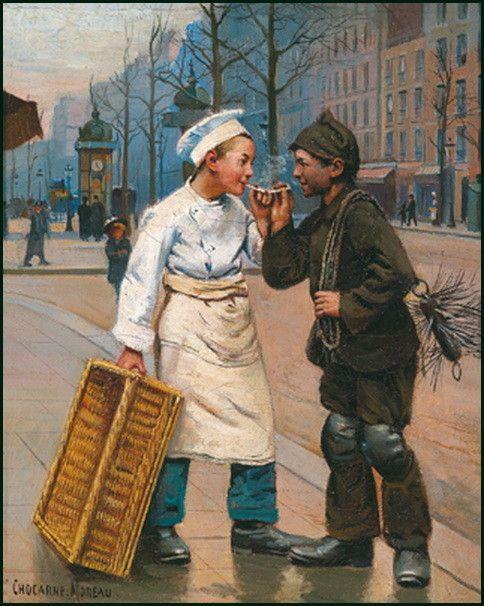 Paul Charles Chocarne-Moreau, né à Dijon en 1855, mort à Neuilly-sur-Seine en 1931, est un artiste-peintre naturaliste et un illustrateur français.  Il débute au salon des artistes français de 1882 et y expose assez régulièrement à partir de cette date1. Il se spécialise dans la peinture de genre. Il représente des scènes de la vie parisienne dont les héros sont généralement de jeunes garçons issus de milieux populaires (jeunes apprentis-pâtissiers, ramoneurs, enfants de chœur, écoliers)
