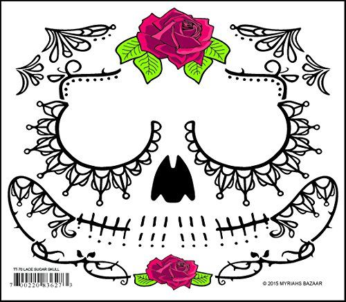 Black Lacey Web Sugar Skull Day of the Dead Temporary Face Tattoo ...