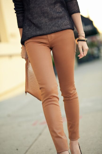 Like: Camel Pants, Colors Combos, Colors Pants, Fashion, Skinny Jeans, Style, Colors Jeans, Grey Jeans, Skinny Pants