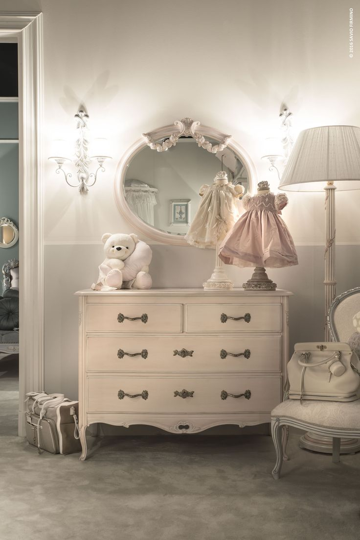 What an elegant chest of drawers, precious in the light tone of its pink finish #children #furniture #design #nottefatata #saviofirmino