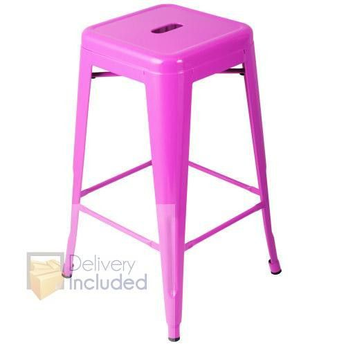 4x Replica Tolix Bar Stool 66cm - Fuchsia